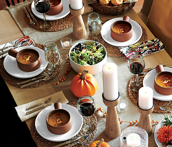 Earthy fall table with modern touches