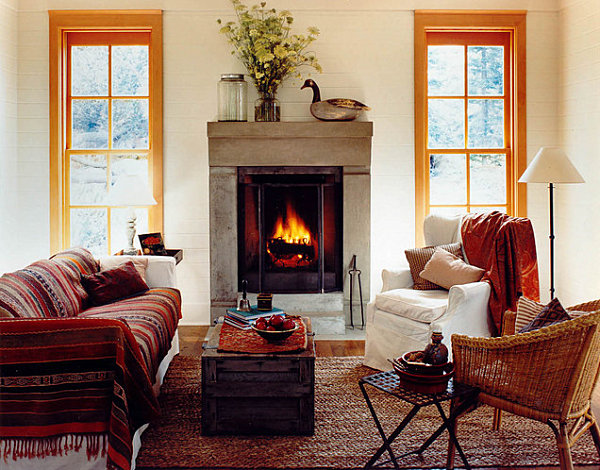 Earthy space with cozy throws