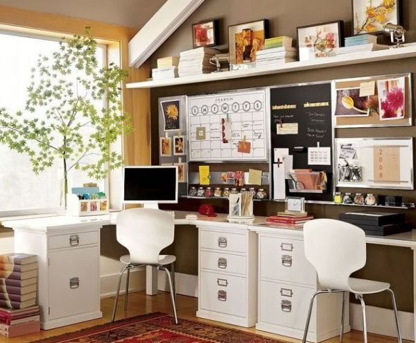 Eclectic home office in brown and white