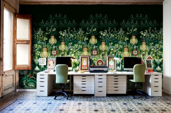 Elaborate and exqusite wallpaper creates a colorful home office