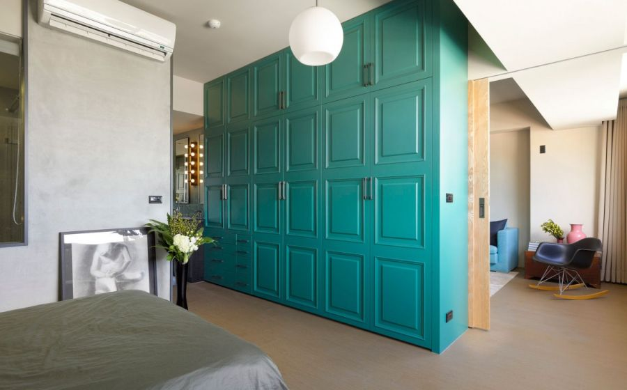 Elegant crafted bedroom with sliding doors