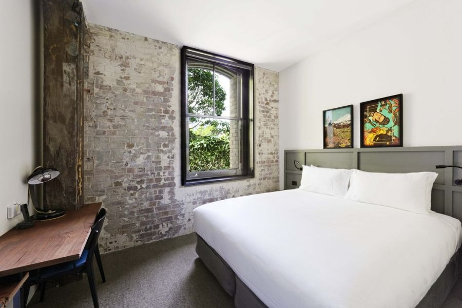 Exposed brick walls of 1888 Hotel