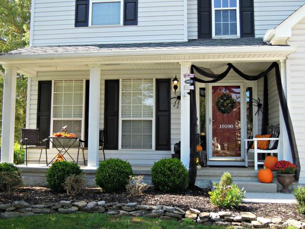 Fabric is an inexpensive and beautiful way to highlight the porch
