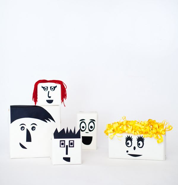 Face-themed gift wrap