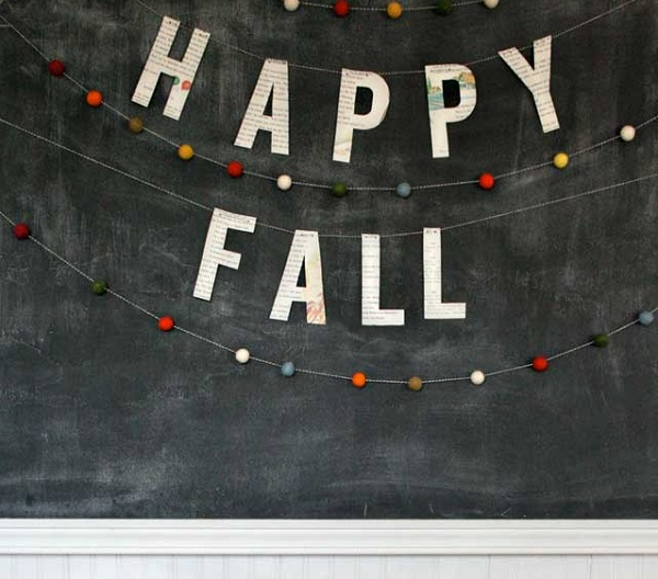 Fall felt ball garland
