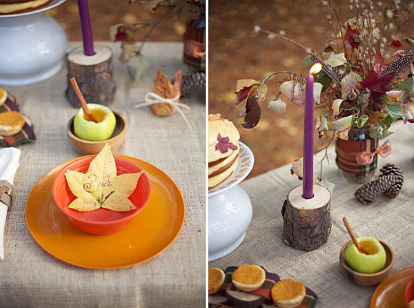 Fall table with a dash of purple