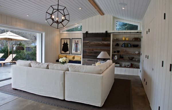 Family room displays a crisp coastal style