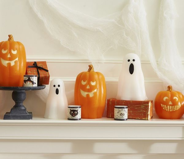 Flicker candles set from Pottery Barn 10 Last Minute Halloween Decor Ideas