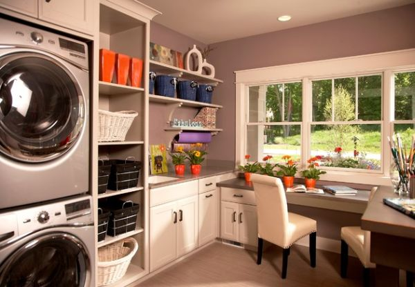 Floating shelves and colorful baskets light up the room 33 Laundry Room Shelving And Storage Ideas
