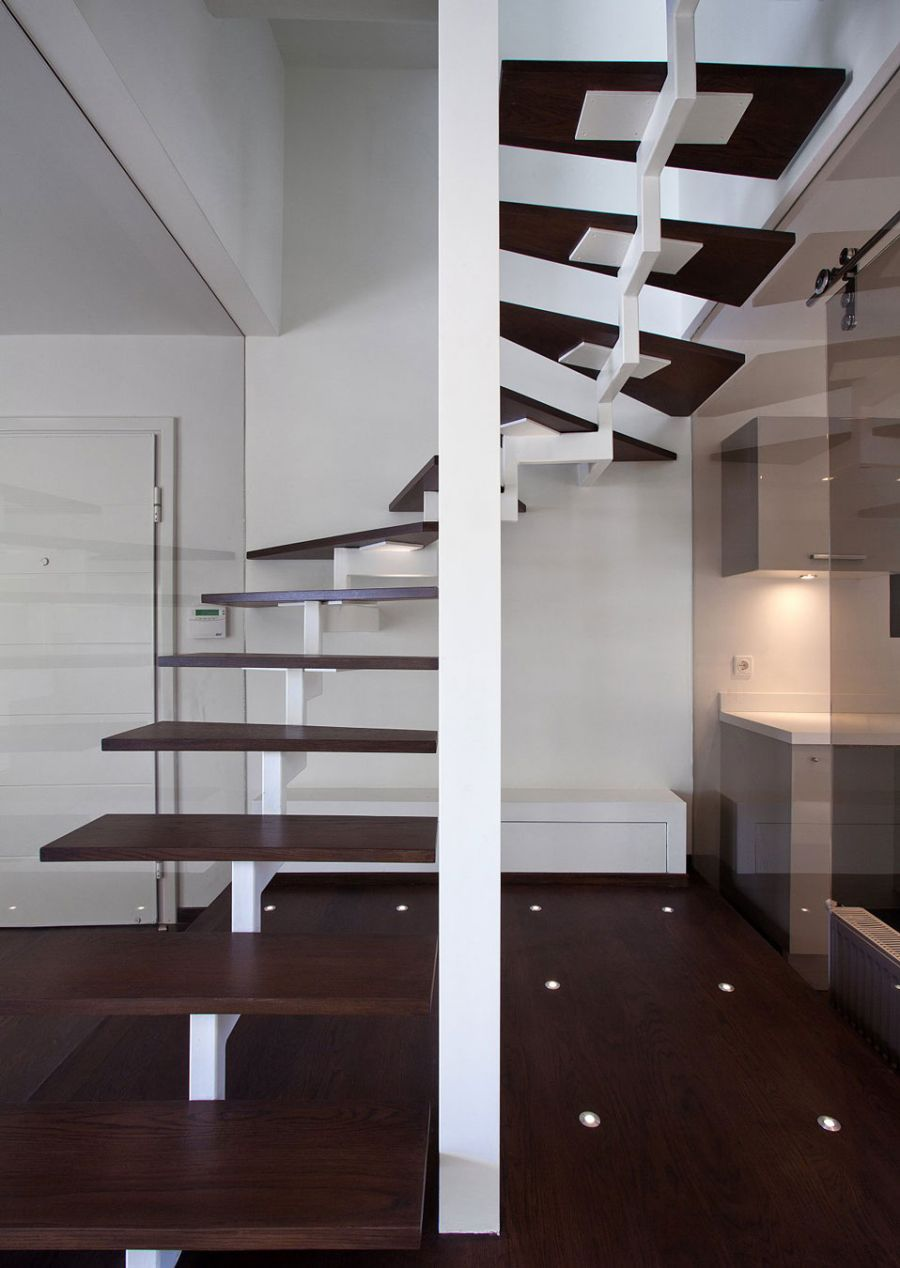 Floating staircase leading to the top level