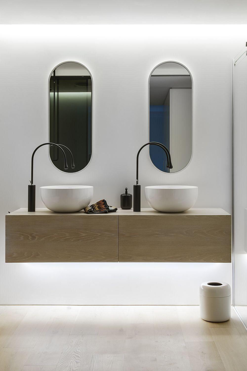 Floating vanity unit in wood