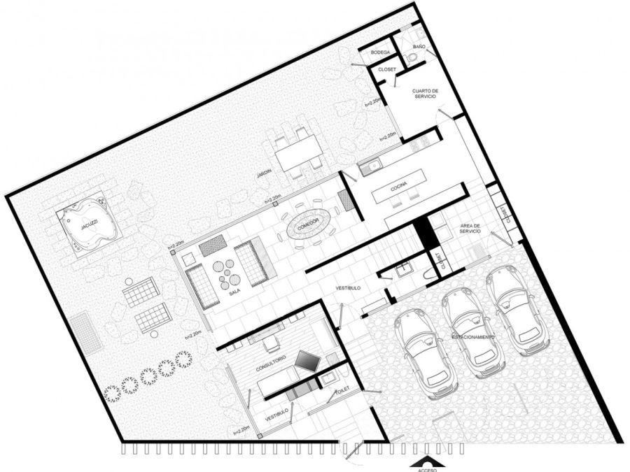 Floor plan of the first level of Virreyes by Kababie Arquitectos