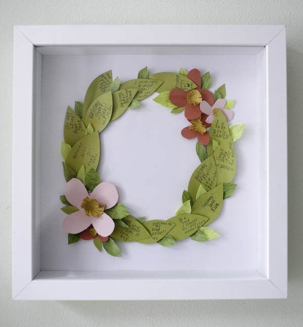 Floral wreath guest book DIY