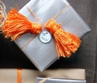 Gift wrap with colorful tassels