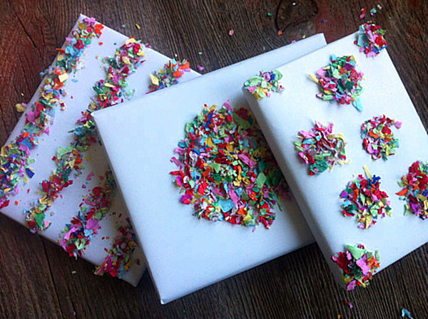 Gifts covered in tissue paper confetti