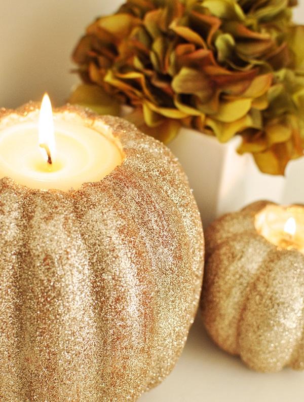 Glam pumpkin candle holder DIY