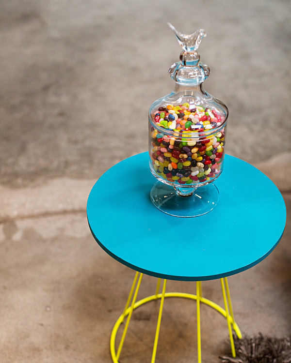 Glass urn of jelly beans in the office of the Honest Company