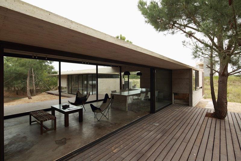Glass windows create open interiors