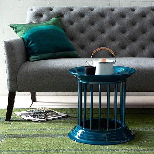 Glossy cylindrical side table