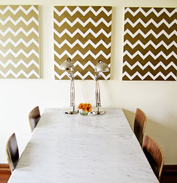 View in gallery Gold Chevron Wall art. 50 Beautiful DIY Wall Art Ideas For Your Home