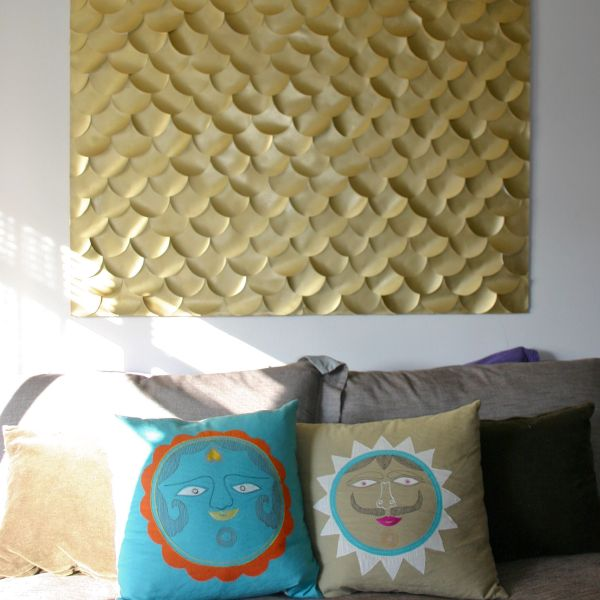 Golden fish scale DIY art