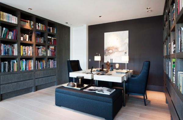 View in gallery Gorgeous modern home office design with twin workstations