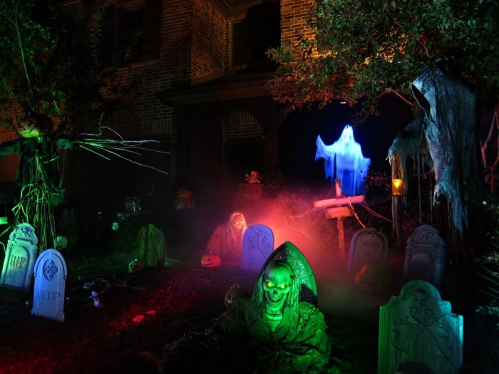 Graveyard with ghouls waifs and great multi-colored lighting