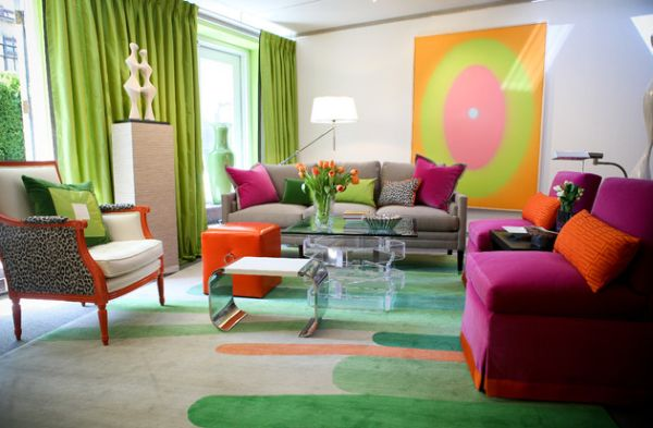 Green, grey and fuchsia - This room has a bit of everything!