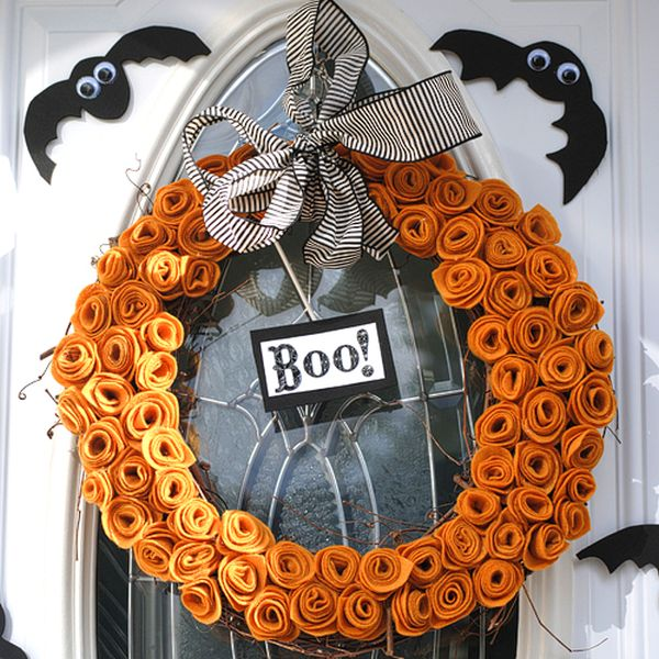 Halloween Felt flower wreath DIY
