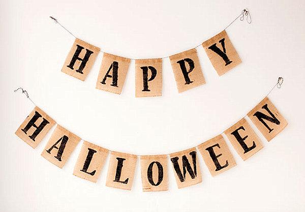 Halloween burlap bunting banner