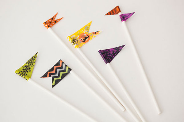 Halloween washi tape drink stirrers