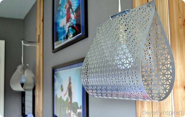 Hanging scrap metal lamp