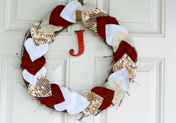 Heart garland wreath DIY