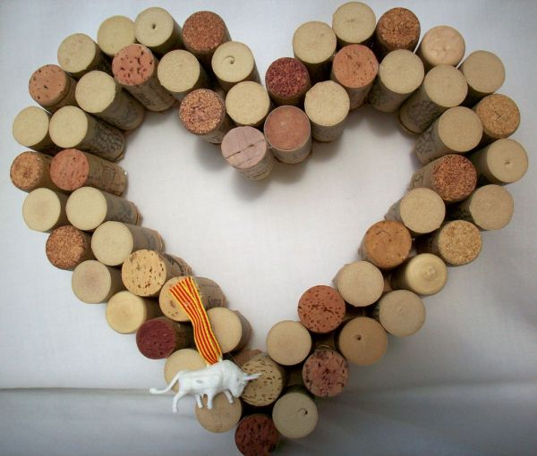 Heart made out of wine corks