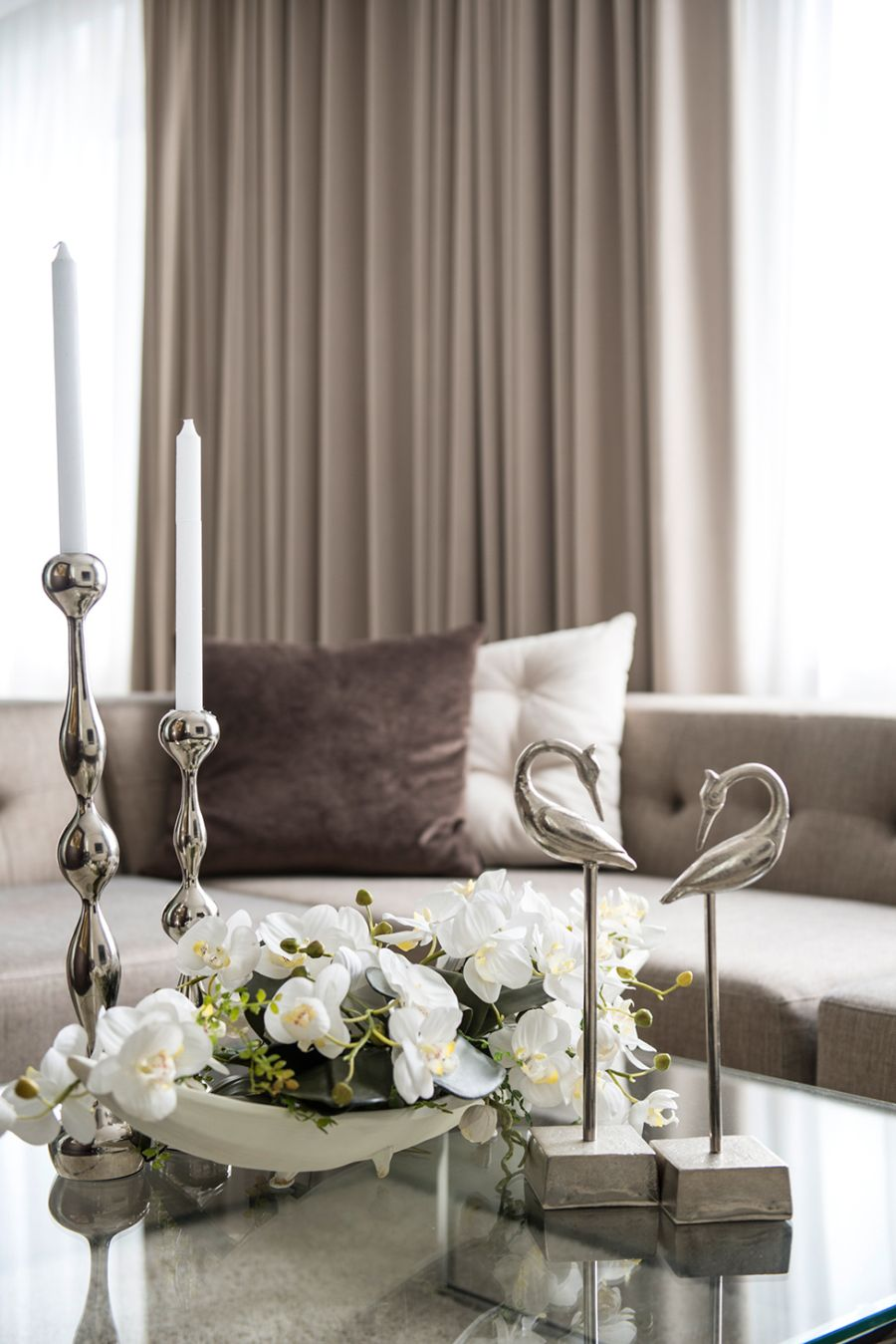 Hint of glossy metal on the coffee table
