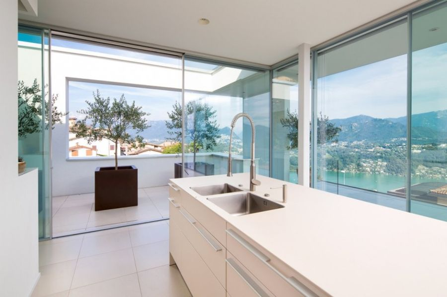 House Lombardo's kitchen with fabulous views