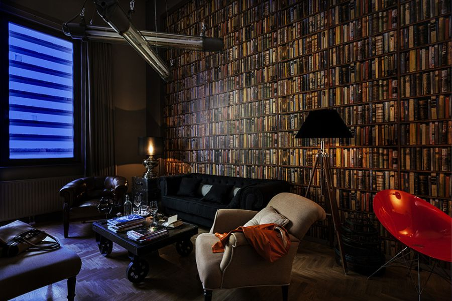 Imposing book display at the Blatazar Hotel in Budapest