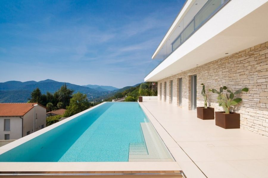 Infinity terrace pool at the Swiss Villa