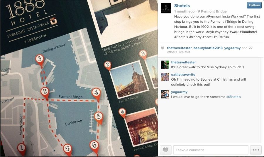 Instagrams maps at the front desk