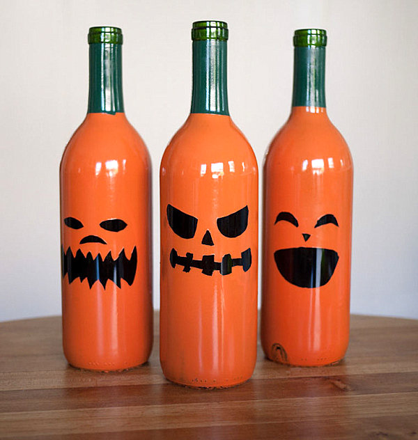 Jack-o-lantern wine bottles