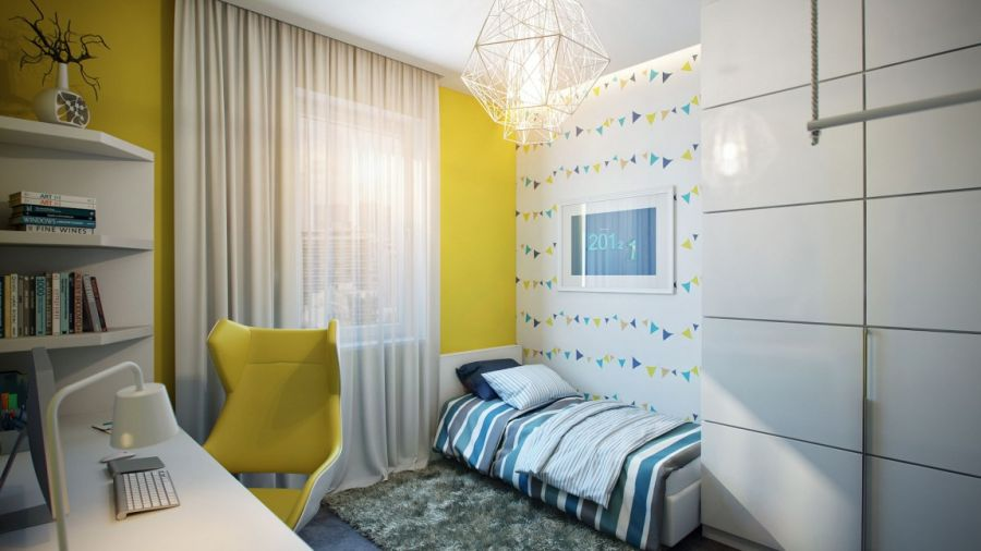 Kids' bedroom design in yellow