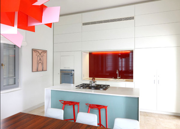 Kitchen with a vibrant modern light