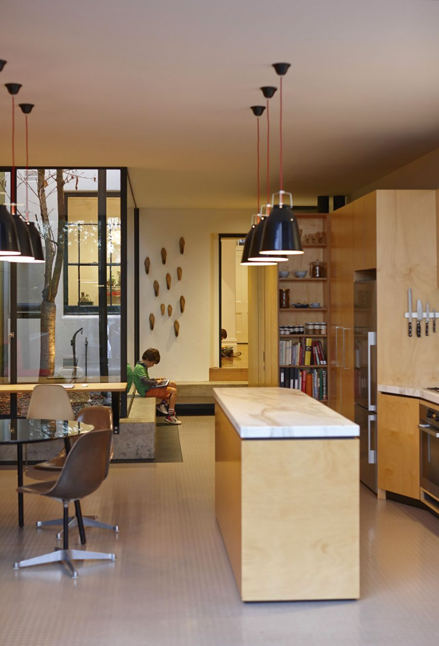 Large pendants above the kitchen island