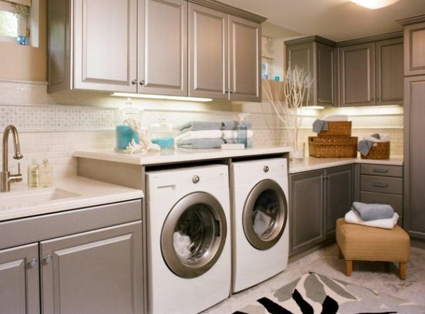 Laundry room cabinets with pre-finished metallic doors