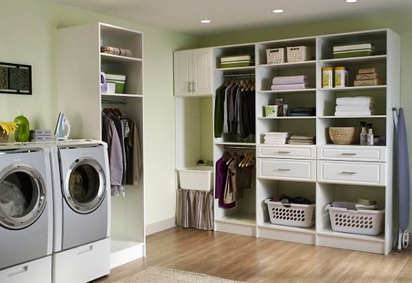 Laundry room with plenty of shelf space