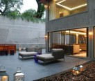 Lavish outdoor patio of Modern Mexico City Residence