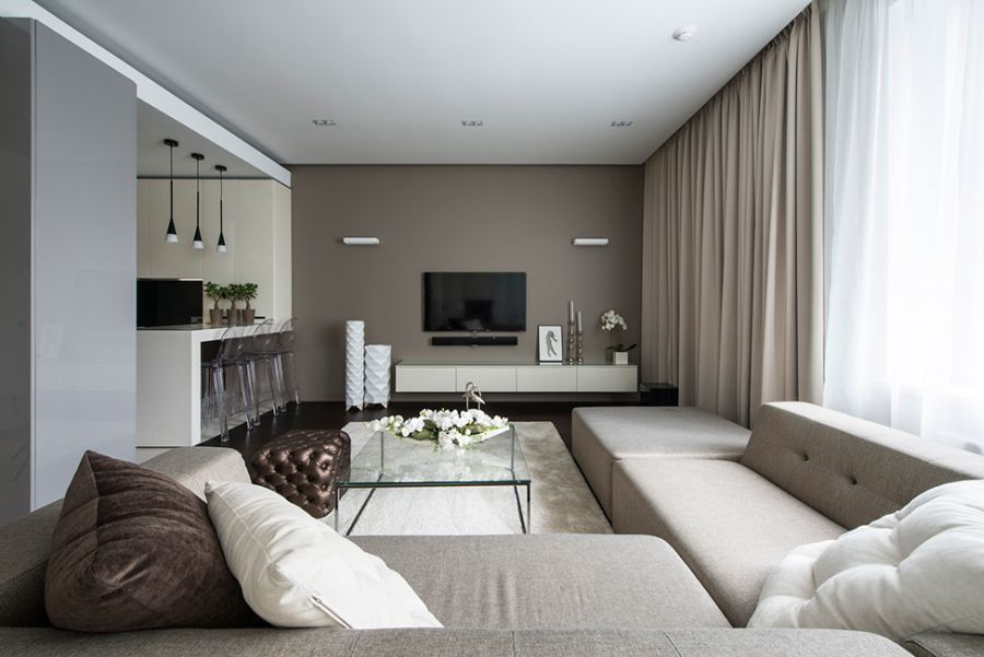 Living room of small Moscow Apartment