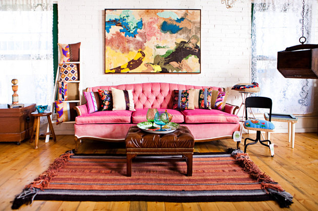 Living room with vintage and modern touches