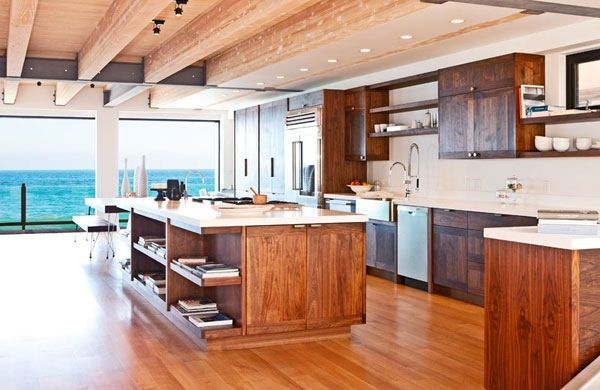 Malibu beach house with heavy wooden accents