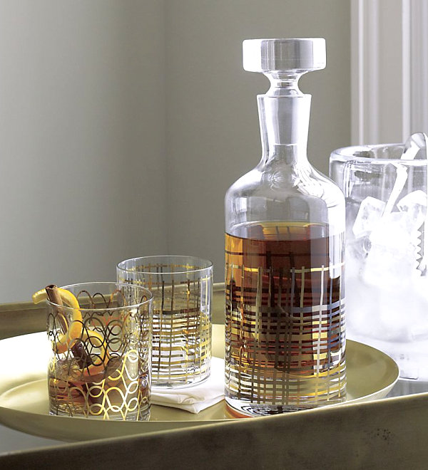Metallic decanter and drinkware